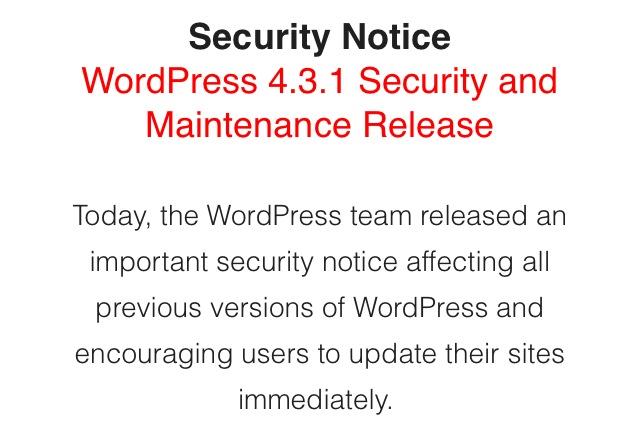Keep Your Website Updated: WordPress 4.3.1 Security Update