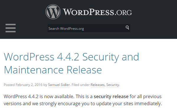 Seriously! Update Your Website: WordPress 4.4.2 Security Update